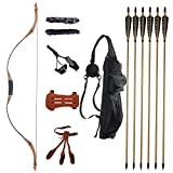 TOPARCHERY 53'' Archery Traditional Recurve Bow Set 30-50 lbs Hunting Handmade Horse Bow Longbow with 6X Wood Arrows Finger Guard Arm Guard Arrow Quiver (30)
