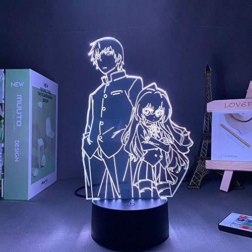 Lámpara de ilusión óptica 3D con diseño de anime y taiga, para niños y niños, decoración LED, luz nocturna de cumpleaños, manga, gadget Aisaka Taiga, lámpara de mesa para niños, 7 colores táctiles