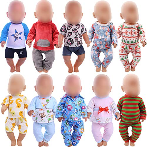 ZWSISU 10 Sets of 14-16 Inch Baby Doll Clothes Pajamas Outfits Pjs Dresses for 43cm New Born Baby Dolls, American 18 Inch Girl Doll, 15 Inch Bitty Baby Doll