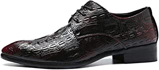 Leather Fashion Oxfords for Men Business Dress Shoes Lace up Faux Leather Pointed Toe Texture Embossed Block Heel shoes (Color : Wine red, Size : 46 EU)
