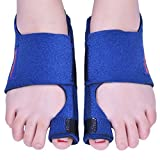 Bunion Corrector by Quanquer [Pair] - Bunion Splint Toe Straightener Brace for Hallux Valgus Pain Relief Fits Men & Women (Blue)