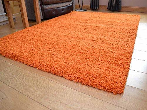 Rugs Supermarket–Alfombra gruesa y suave de pelo largo, 5cm), color naranja, disponible en 7tamaños