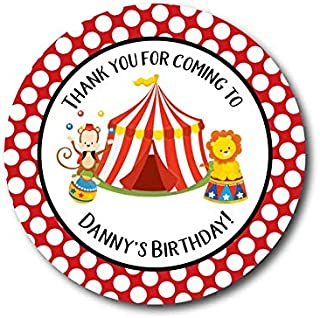 VinMea Circus Birthday Labels Circus Party Big Top Stickers Birthday Party Favor Stickers Circus Labels Popcorn Favor Labels Cotton Candy Labels 4