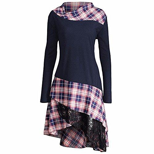 OSYARD Damen Kleid Freizeit Dress Große Größe Foldover Collar, Frauen Mode Solid Verroschte Asymmetrische Spitzen Kleid Hemd Tunic Bluse Tops Blusekleid Knielang Dress