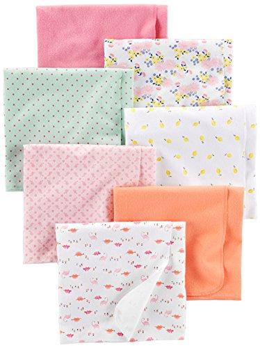 Simple Joys by Carter's Baby Girls paquete de 7 mantas de franela para recibir ,Floral/Pink/Mint/Lemon/Dino ,Talla única