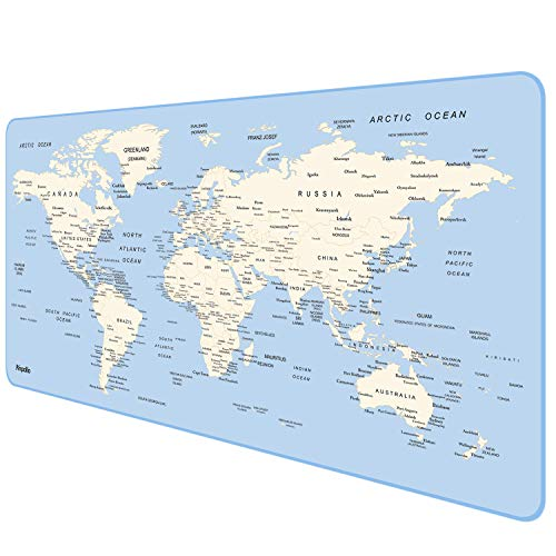 Anpollo Extended Gaming Mouse Pad Large Size 35.4x15.7x0.12inches Anti-Fray Stitched Edges XXL Mousepad Desk Mat for Gamer Computer PC Keyboard and Mouse, World Map