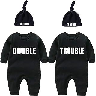 """Culbutomind dziecięce body dla bliźniaków, """"podwójne kłopoty"""", uroczy strój z czapką, piżama dziecięca, prezent dla nowo n..."""