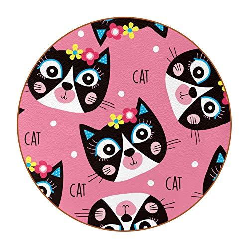 Bennigiry Lindo gato rosa patrón posavasos de cuero redondo resistente al calor tazas tazas taza taza taza taza taza de cristal lugar esterillas 6 piezas