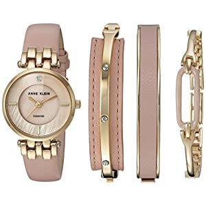 Anne Klein – Conjunto de reloj y pulsera con detalle de diamante