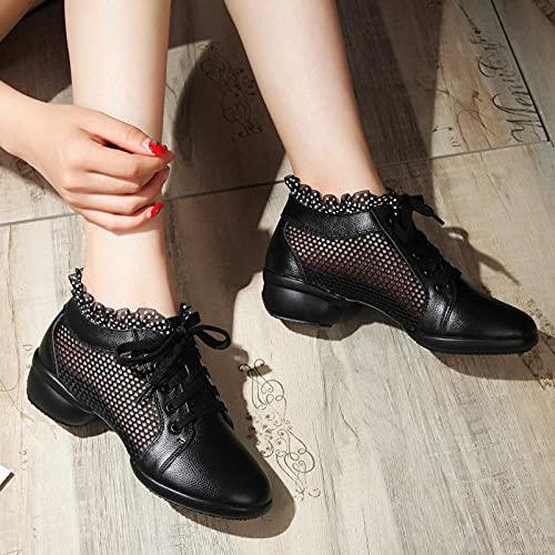 ZZLHHD Zapatillasdeplayaantideslizantes,Zapatosdebailedeportivostranspirablesdecueroconfondosuave-Negro1_36,Zapatillasdeentrenamiento