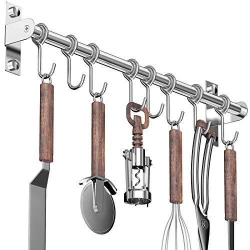Lesfit Barra Cocina Utensilios, 40 cm Inoxidable Montaje en Pared Colgador Organizador con 8 Ganchos de Ollas y Sartenes, Adhesiva sin Taladro