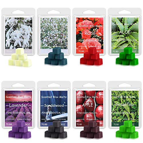 Perkisboby Scented Wax Melts, Soy Wax Cubes with Natural Essential Oil for Assorted Wax Warmer Cubes/Tarts - Jasmine, Vanilla, Rose, Aloe, Lavender, Sandalwood, Apple, Green Tea (8 x 2.5 oz)