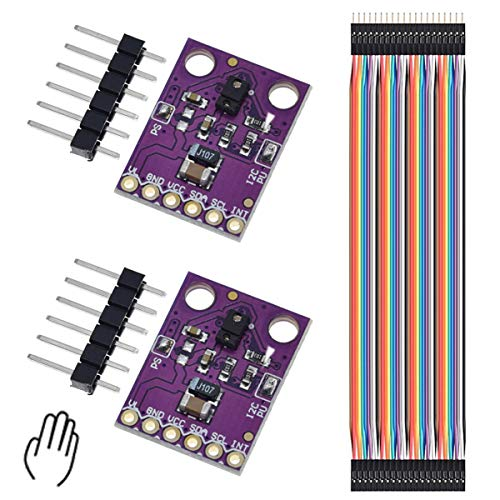 DAOKI 2PCS APDS-9960 APDS9960 Hand Gesture Sensor Module Non-Contact RGB Gesture Recognition Moving Direction Ambient Light RGB Proximity Sensor Module Infrared Move Module with Dupont Cable