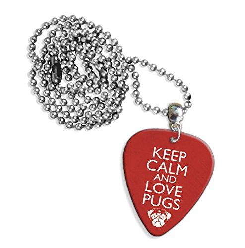 Keep Calm And Love Pugs Logo Chitarra Pick Collana (GD)