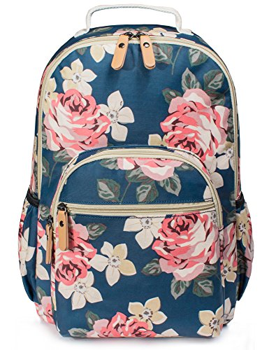 H HIKKER-LINK Womens Pink Floral Laptop Backpack College Bookbag PVC Travel Hiking Daypack Blue