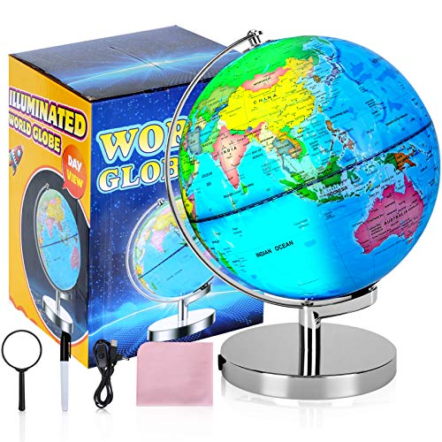 Illuminated Rewritable Globe of The World 8' for Kids with Stand,Colorful Easy-Read High Clear Map, Illuminates Educational Interactive Globe STEM Toy, Light Up Globe Lamp, Night Light LED Decor