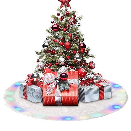 Ghopy Weihnachtsbaumdecke Weihnachtsdeko Weihnachtsbaum Schürze Weihnachtsbaum Rock Plüsch Christmasbaumdecke LED Bunt Elegante Dekoration (122cm)