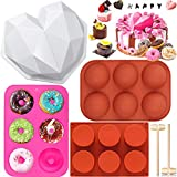 6 PCs Silicone Baking Mold Sets, Big Heart Molds for Chocolate with 2 Hammers, Hot Chocolate Bomb Molds, Cylinder Candy Molds, Donuts Pans, Making Biscuit ,Jelly, Dome Mousse Home Bake (Heart+ Donuts)