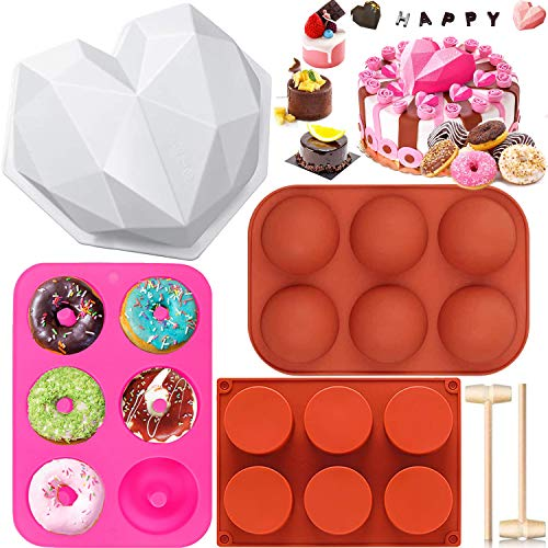 6 PCs Silicone Baking Mold Sets, Big Heart Molds for Chocolate with 2 Hammers, Hot Chocolate Bomb...