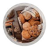 4 tiradores redondos de cristal transparente para cajones con tornillos para cocina, aparador, armario, baño, armario, avena y galletas de chocolate