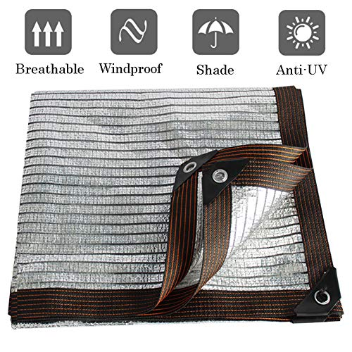 CYY 80% Silver Rectangulaire Sunblock Shade Cloth,Filet D'ombrage UV Resistant Reflective Aluminet/Durable Waterproof,Greenhouse Pergola Outdoor -7x10ft/2x3m