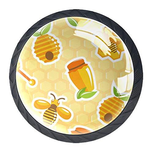 (4 piezas) pomos para armario de cocina, tiradores de cajón de cristal, pomos para cajón, para casa, oficina, dormitorio, sala de estar, baño, con tornillos, tarro de miel de colmena, abeja