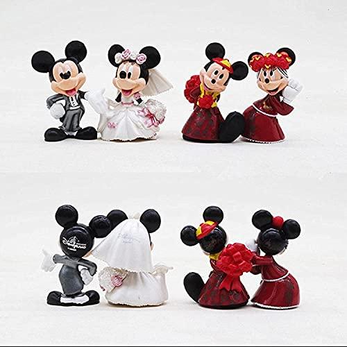 BESTZY Mickey Cake Topper Decoración para Tartas Minnie Figuras Set Fiestas de Cumpleaños Cute Mickey Minnie Figure Pastel Decoración Suministros 4 pcs