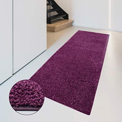 Carpet Studio Flauschig-weiche Haptik Teppichläufer 57x150cm, Wohnzimmer/Schlafzimmer/Küche/Flur, praktische Reinigung, per Hand fertiggestellt, Aubergine