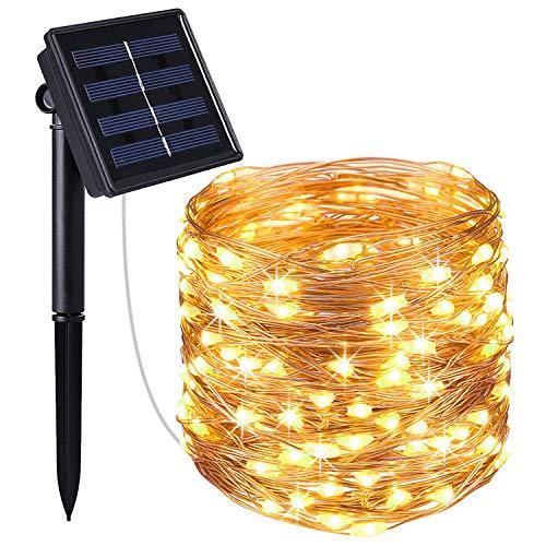 Venta caliente de Amazon Energía solar Bobina de cobre Cadenas de luz Led al aire libre Impermeable 20 M Linterna 200 Cuentas de lámpara Luces de cadena con energía solar