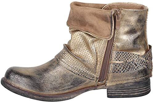 Elara Juliet Damen Biker Boots Metallic Prints Schnallen Nieten Stiefeletten Lederoptik Chunkyrayan B-BZ8399-KB Gold-36