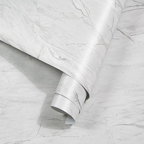 rabbitgoo Marmor Folie Klebefolie Selbstklebende Möbelfolie Wasserdicht Dekofolie Aufkleber Tapete PVC für Möbel Fensterbank Tisch Küche Hitze- und Feuchtigkeitsbeständig Anti-Öl 44.5 x 200 cm