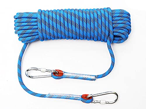 rock climbing ropes QHY 8MM Outdoor Climbing Rope Static Climbing Rope Rock Climbing Rope Ice Climbing Equipment Fire Rescue Parachute Rope Multipurpose Ropes Escape Rope (Color : Blue, Size : 10m8mm)