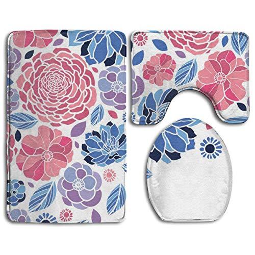 N\A Mosaic Flowers Print Badteppichmatten Set 3-teilige, rutschfeste Badteppiche + Toilettensitzbezug + Konturmatte