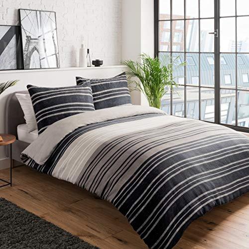 Sleepdown - Set Copripiumino Double-Face, con Motivo a Righe, 155 x 220 cm + 2 federe da 80 x 80 cm, in Policotone, 155 x 220 cm + 2 x 80 x 80 cm