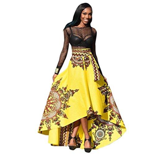 Elecenty Damen Boho Maxirock Strandrock Partykleid Sommer Rock Mädchen Blumen Drucken Kleider Frauen Mode Kleid Minirock Kleidung Abendrock (S, Gelber)