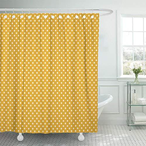 JOOCAR Design Duschvorhang, gelb gepunktet, goldfarben, cremefarben, gepunktet, schickes Landhaus, wasserdichter Stoff, Badezimmer-Dekor-Set mit Haken