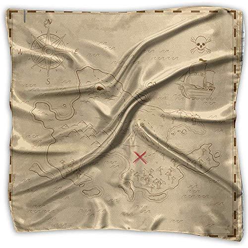 Uridy Pañuelo de raso cuadrado Vintage Treasure Map Seda como bandanas ligeras...