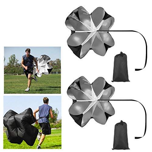 Mioke Paraguas para Correr,2PACK 56'' Paracaídas Entrenamiento de Velocidad Paraguas de Resistencia a Velocidad para Fútbol Correr (Negro)