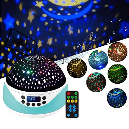 QXL-CAR COVER Proyector Estrella Lampara Luz De Noche Estrellas Control Remoto Altavoz con 6 Modos De Iluminación,por para Niños Bebés Cumpleaños Navidad Halloween Fiesta,Azul