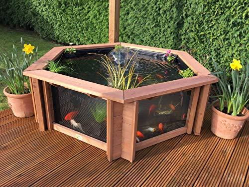 Garten-Aquarium Lily, klare Sichtfenster, mit Springbrunnen/UV-Filter, Gartenteich mit hohen Seitenwänden, Set - braun