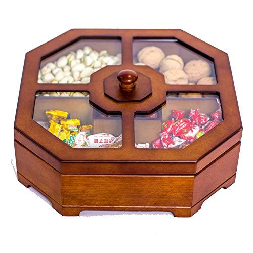 TINGTING-Porte-fruits Corbeilles à Fruits Boîte de Fruits secs Boîte de Bonbons Cloison de ménage avec Couvercle Snack en Bois (Couleur : Brown, Taille : Single-Cross)