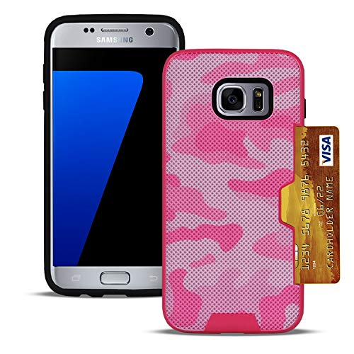 Camouflage Cover voor Samsung Galaxy S7 | In roze | Hybride harde koffer | Kaart