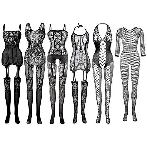 FEPITO 6 Set Damen Strümpfe Dessous Spitze Netz Netz Bodysuits für Dessous Party Date Wearing (Color A)