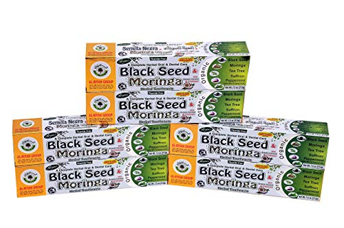 Pack of 6- Black Seed, Moringa, Tea Tree, Saffron, Peppermint- Herbal Toothpaste with Organic Coconut and Triplemint Fluoride Free