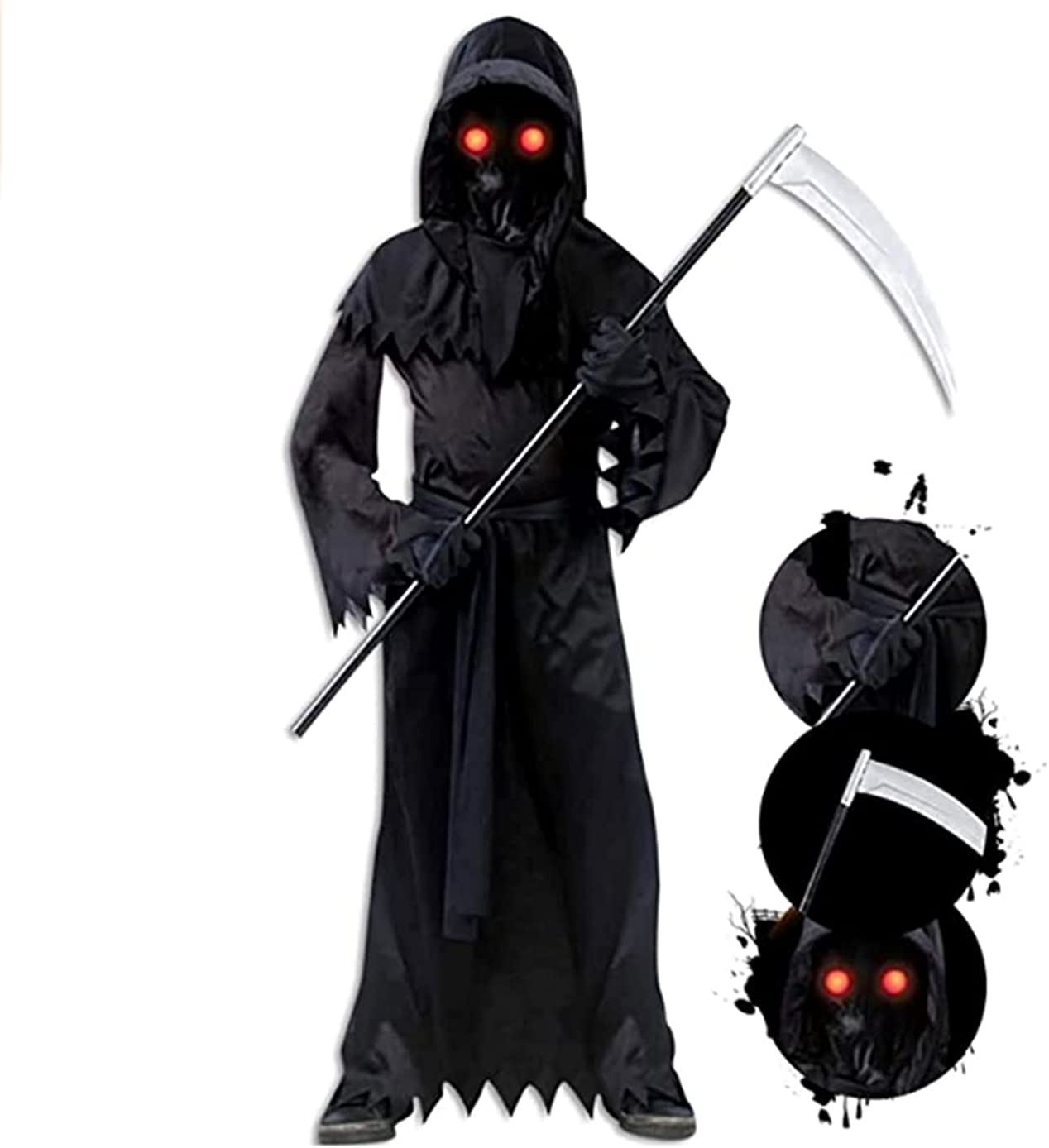 Grim Inventory cleanup selling sale Virginia Beach Mall Reaper Costume for Kids with Ligh Costumes Halloween Scary