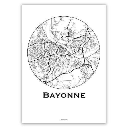 Plakat Bayonne Frankreich Minimalist Map - Poster, City Map, Dekoration, Geschenk