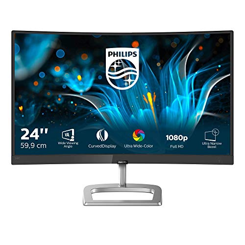 "Philips 248E9QHSB 24"" Gaming Monitor Curvo Freesync 75 Hz LED IPS FHD, Ultra Wide Color, 4ms, 3 Side Frameless, Low Blue Mode, Flicker Free, HDMI, VGA, VESA, Nero"