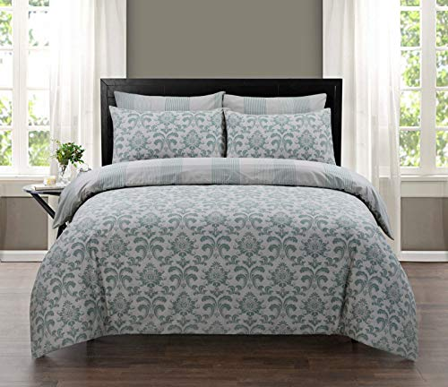 100% Pure Cotton Printed Reversible Duvet Quilt Cover Set, Double - Istambul