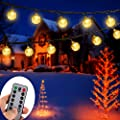 Battery Operated String Lights, ZOUTOG 33ft 60 Crystal Balls Outdoor String Lights with Remote Controller + 8 Pcs Lighting Hooks, LED String Lights for Patio/Garden/Lawn/Home - Warm White