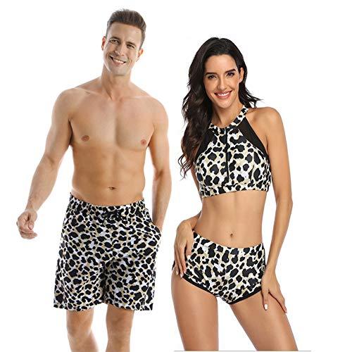 Ulikeey Matching Swimsuit for Couples Leopard Mens Trunk Women 2 Piece Bikini Set Modest